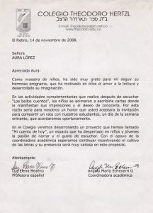 Carta del Colegio Theodoro Hertzl